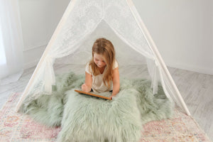 Pastel Green Vegan Long Fur Pillow | Fairy - Furmanity