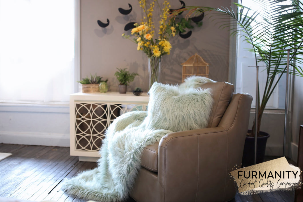 Long and Thick Pastel Green Vegan Faux Fur Throw and Blanket | Fairy - Furmanity