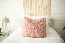 Load image into Gallery viewer, super soft, pink, faux fur luxury pillow on white bed. Handmade in America