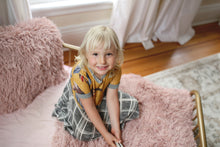 Load image into Gallery viewer, little girl in bedroom on faux fur blanket in pink by FuRmanity