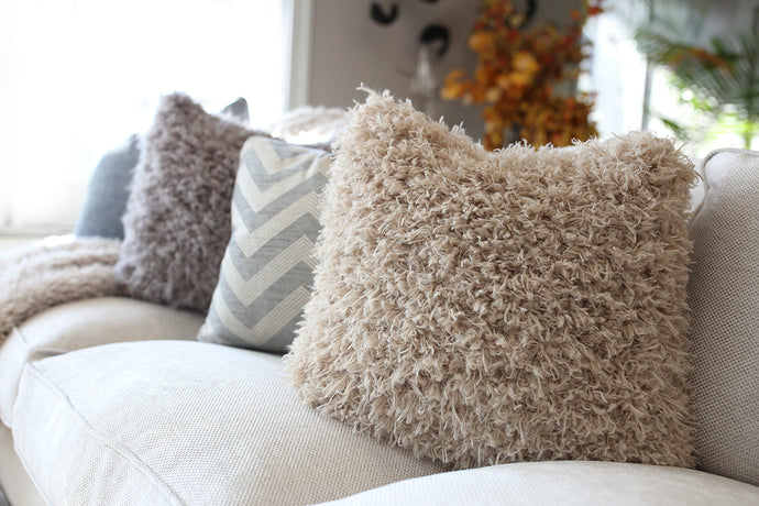super soft faux fur home decor 18 inch pillow for interior designers with washable case. Made in America by FuRmanity with Custom Photo Props furs