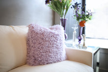 Load image into Gallery viewer, Pastel Light Purple Vegan Faukati™ Fur Pillow on Ivory Couch | Iris - Furmanity