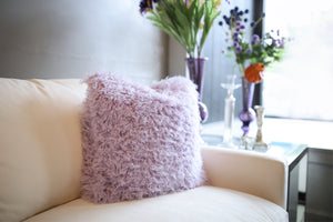 Pastel Light Purple Vegan Faukati™ Fur Pillow on Ivory Couch | Iris - Furmanity