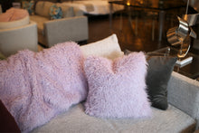 "Load image into Gallery viewer, 18"" x 18"" Living Room or Bedroom. Light Purple Curly Vegan Faukati™ Fur Pillow 