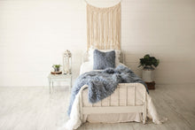 Load image into Gallery viewer, medium blue, luxury, fur blanket and matching pillow on white bed
