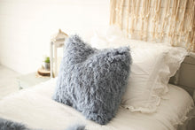 Load image into Gallery viewer, luxury 18 inch vegan faux fur pillow in medium blue for boys