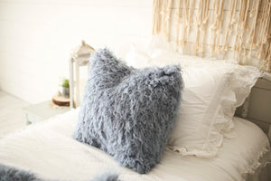 luxury 18 inch vegan faux fur pillow in medium blue for boys
