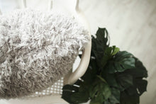 Load image into Gallery viewer, close up photo of super soft, light gray, vegan faux fur pillow with double sided fur