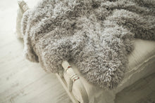Load image into Gallery viewer, close up photo of textured gray, faux fur, double sided blanket