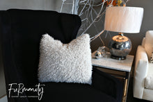 Load image into Gallery viewer, Super soft, short dirty or off white textured nappy faux fur home decor pillow. Sold by FuRmanity. Made in the USA