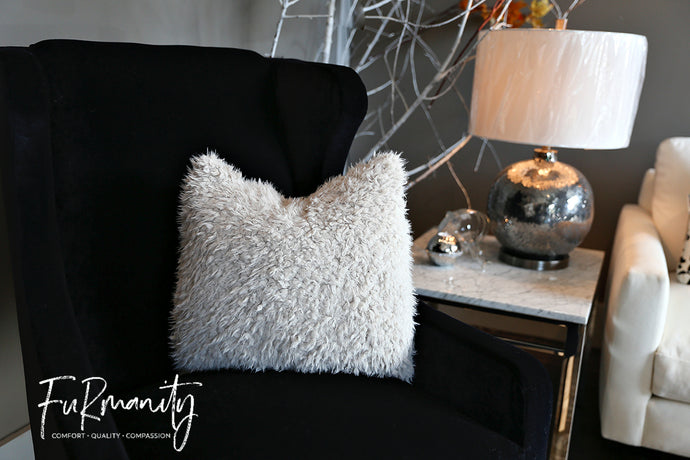 Super soft, short dirty or off white textured nappy faux fur home decor pillow. Sold by FuRmanity. Made in the USA