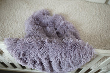 Load image into Gallery viewer, dusty purple faux fur kids blanket hanging over crib in nursery room