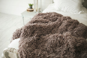 super soft, brown, gray masculine faux fur eco-friendly blanket