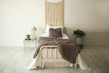 Load image into Gallery viewer, super thick and heavy, faux fur blanket with matching pllow on bed