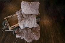 Load image into Gallery viewer, neutral faux fur home decor throw in gray, brown, purple mix for baby, kid, child, adult. Handmade in America by FuRmanity Home Goods