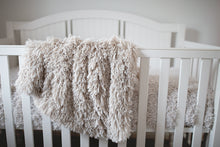Load image into Gallery viewer, soft unisex newborn, baby, toddler, kid, child luxury faux fur blanket hanging over crib