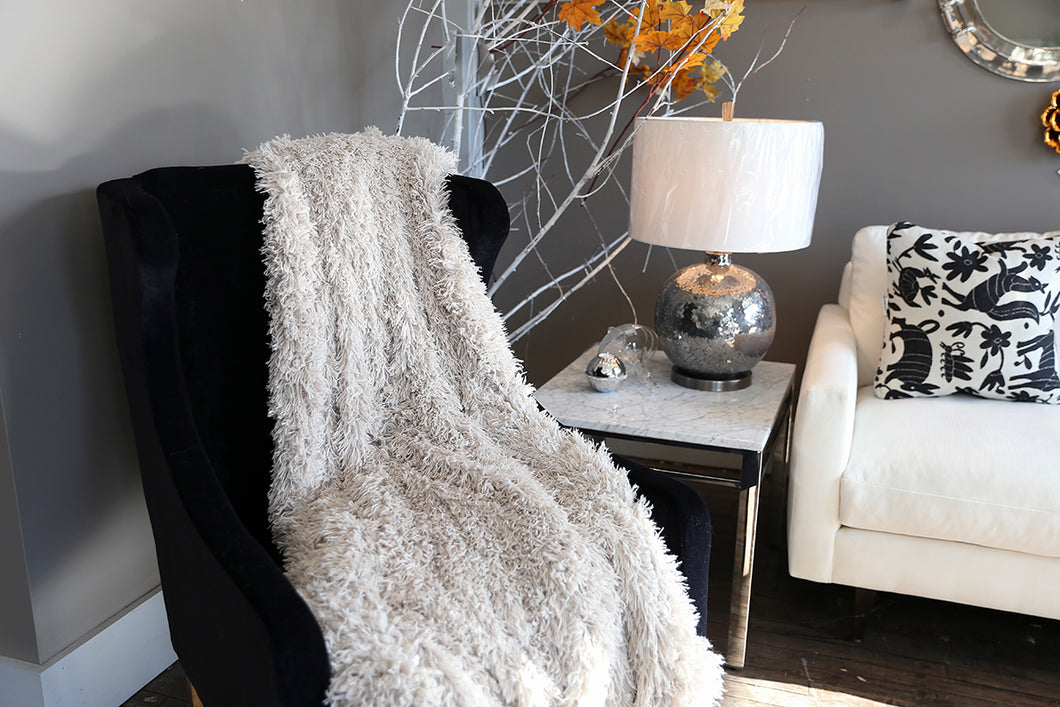 beige faux fur home blanket for baby, kid or adult. Super soft and machine washable. USA made by FuRmanity