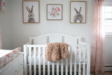 Load image into Gallery viewer, brown faux fur throw hanging over little girl's crib