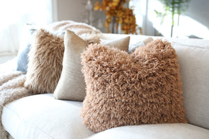 warm brown faux fur pillow in super soft texture. Handmade in the USA by FuRmanity with Custom Photo Props fur
