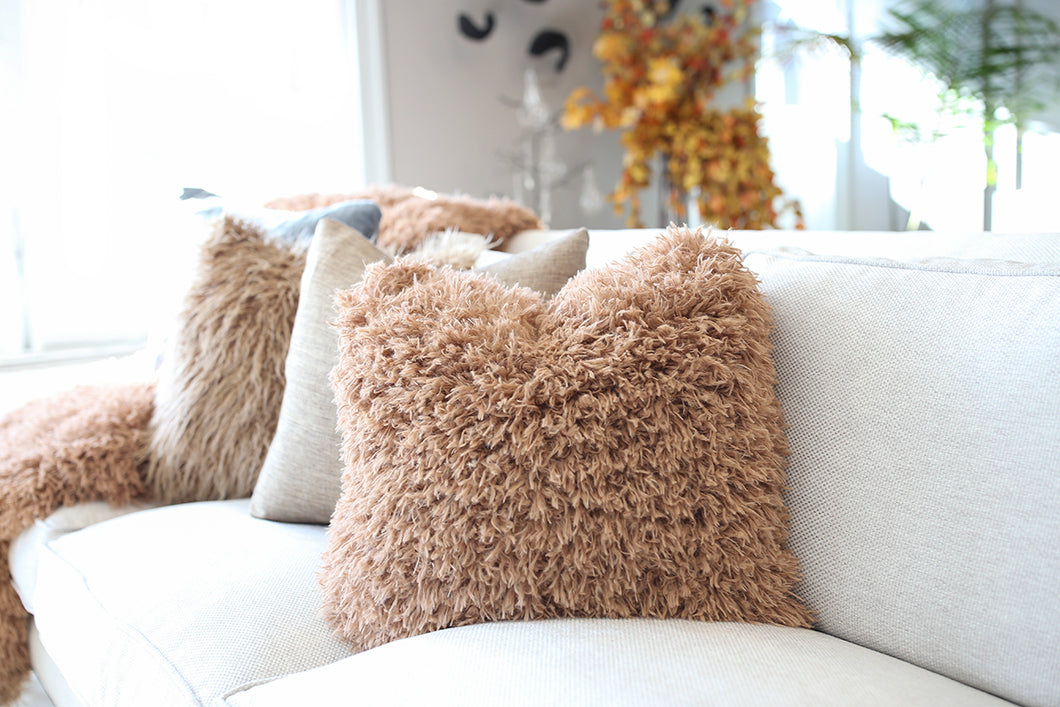 Maple Brown Vegan Fur Home Decor Pillow - Furmanity