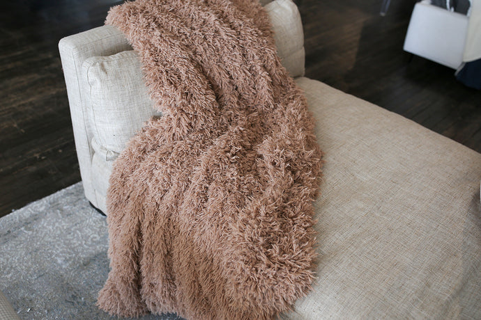 warm brown faux fur blanket in super soft texture for baby, kid or adult. Handmade in the USA by FuRmanity with Custom Photo Props fur