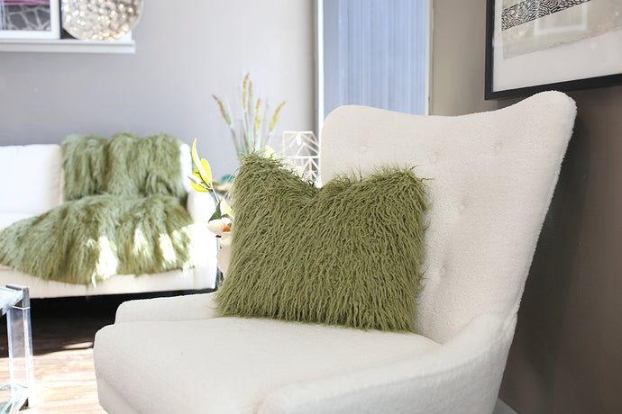 Moss Green Vegan Fur Home Decor Blanket or Throw - Furmanity