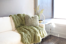 Load image into Gallery viewer, Moss Green Vegan Fur Home Decor Blanket or Throw - Furmanity
