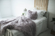 Load image into Gallery viewer, matching faux fur luxury bedding and pillow on white bed for new wedding gift