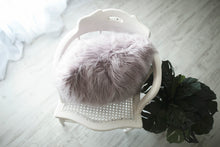 Load image into Gallery viewer, 18 inch plush double sided faux fur pillow on chair, luxury fur