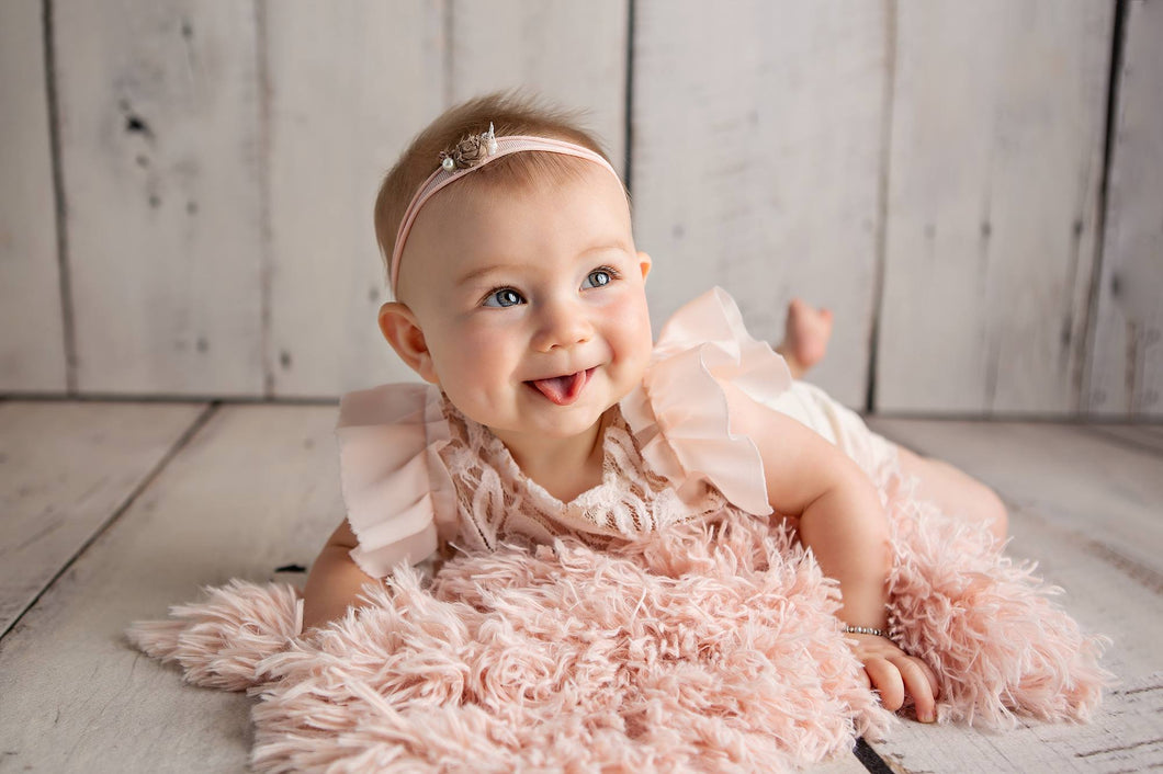 little toddler girl light peach super soft faux fur baby lap blanket. Custom Photo Props fur made by FuRmanity fur decor.