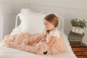 Heavy and Soft Light Peach Plush Vegan Fur Bedroom Blanket | Handmade in the USA by Furmanity