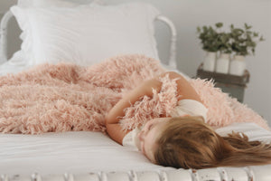 Super Soft Light Peach Plush Vegan Faux Fur Blanket for Kid's to Relax and Cuddle