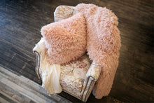 Load image into Gallery viewer, Light Peach Plush Vegan Fur Blanket and Matching Pillow. Pastel Orange Fur Cushion. Gorgeous for Home Decor