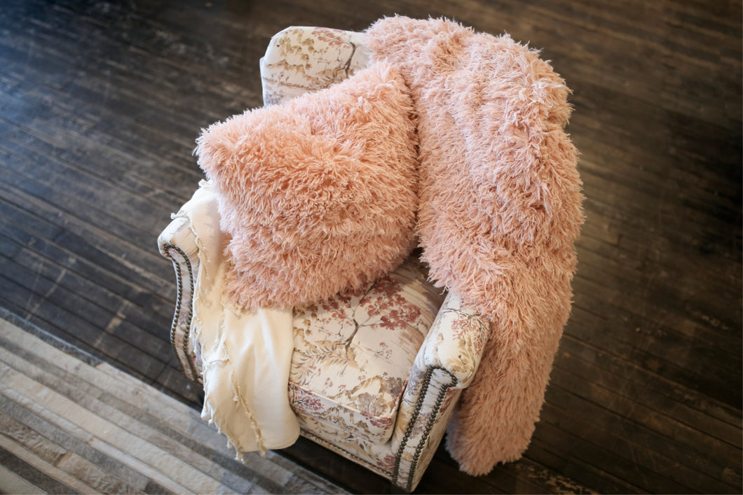 Light Peach Plush Vegan Fur Blanket and Matching Pillow. Pastel Orange Fur Cushion. Gorgeous for Home Decor