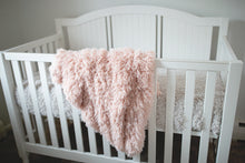 Load image into Gallery viewer, little toddler girl light peach super soft faux fur baby lap blanket. Custom Photo Props fur made by FuRmanity fur decor.
