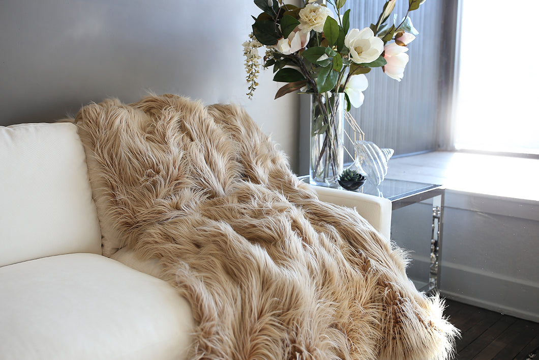 two toned caramel brown faux fur long fur throw or blanket. Handmade in USA by FuRmanity with Custom Photo Props furs