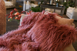 Gorgeous mauve pink faux fur pillow with a rose hue. Matching decor blanket available by FuRmanity