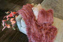 Load image into Gallery viewer, Mauve Pink Vegan Faux Fur Mongolian 18 Inch Pillow. Made in America by Furmanity