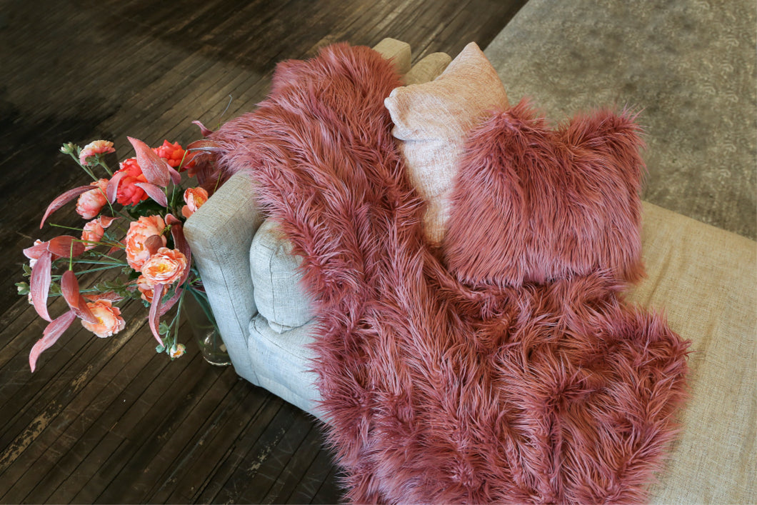 Mauve Pink Vegan Faux Fur Mongolian 18 Inch Pillow. Made in America by Furmanity