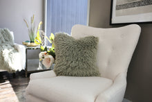 Load image into Gallery viewer, light sage green super soft faux fur pillow for kid's bedroom or home interior design. Custom Photo Props fur made by FuRmanity fur decor.