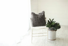 Load image into Gallery viewer, dark gray, masculine, luxury, american made, faux fur accent pillow