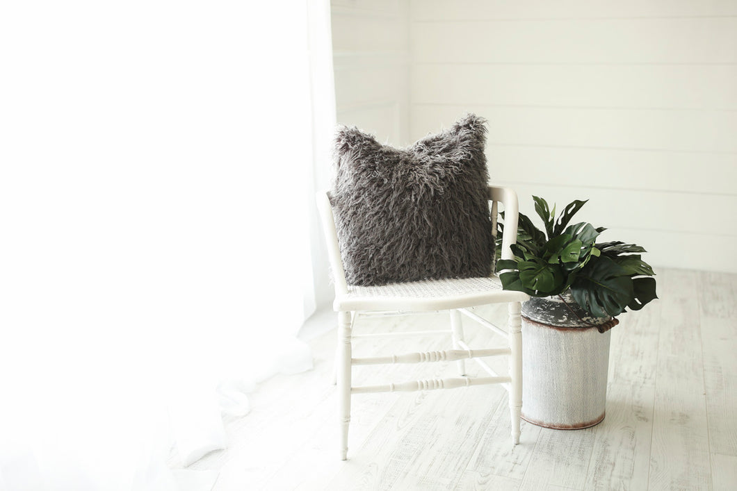 dark gray, masculine, luxury, american made, faux fur accent pillow