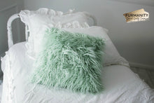 "Load image into Gallery viewer, 18"" x 18"" High Quality Spring Green or Pastel Green Vegan Faux Fur Home Decor Pillow. American Made by Furmanity"