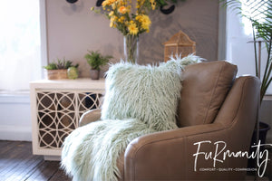 light green faux fur pillow with washable cover. american made home decor by FuRmanity Home Goods