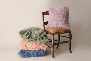 Stack of Faux Fur Pillows for Home Decor by FuRmanity. Blue, Peach, Green and Purple