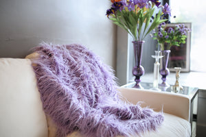 light to medium purple faux fur throw or twin bedding for a girl's bedroom