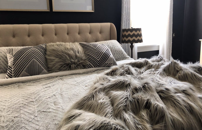 long gray two tone ombre heavy and thick vegan faux fur throw for home interior decorating