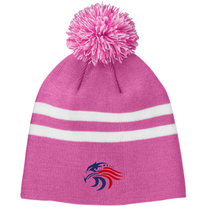 Woman's Signature Logo Striped Pom Beanie