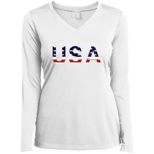 New! Women's USA LS Performance V-Neck T-Shirt