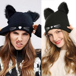 Hand-Knitted Cat Ear Winter Beanie